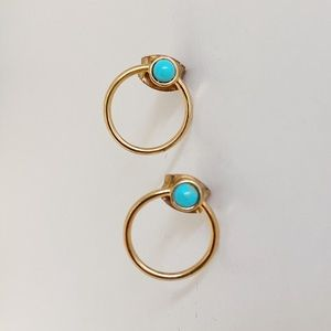 Anthropologie Turquoise Gold Circle Hoops 🌎